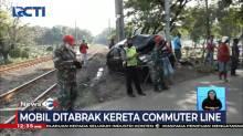 Mobil Ringsek usai Ditabrak Kereta Comutter Line, Penumpang Selamat