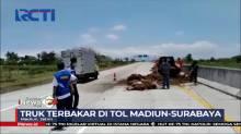 Mobil Pengangkut Tembakau Terbakar di Jalan Tol Madiun-Surabaya