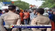 Buruh Blokir Pintu Tol di Tangerang Menolak UU Cipta Kerja