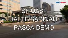 Situasi Halte Transjakarta Sarinah Pasca Dibakar Massa