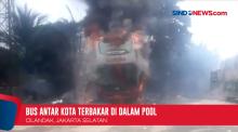 Bus Tujuan Jawa Timur Terbakar Dalam Pool di Cilandak