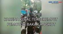 Karena Kesal Terserempet Pemotor Bakar Angkot di Tangerang