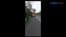 Sebuah Minibus Terbakar di Ruas Tol Purbaleunyi KM 90