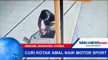 Pengendara Motor Sport Terekam CCTV Mencuri Uang Kotak Amal