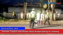 Pemotor Terjatuh saat Hindari Razia Knalpot Bising di Lembang