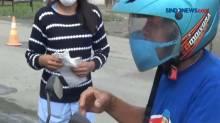 Pemotor Kelabui Petugas, Cat Kaca Helm Menyerupai Masker