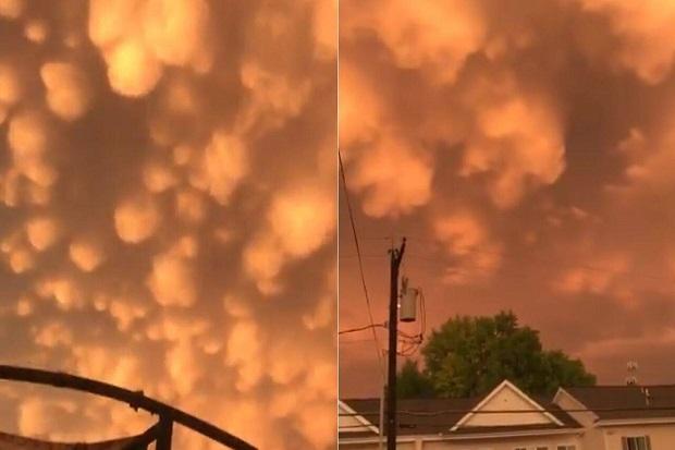 Awan Oranye Mirip Bara Api Muncul Di Langit AS Usai Badai Ganas