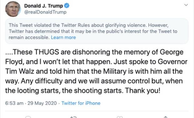 Twitter Tolak Tweet Trump karena Dianggap Memuliak