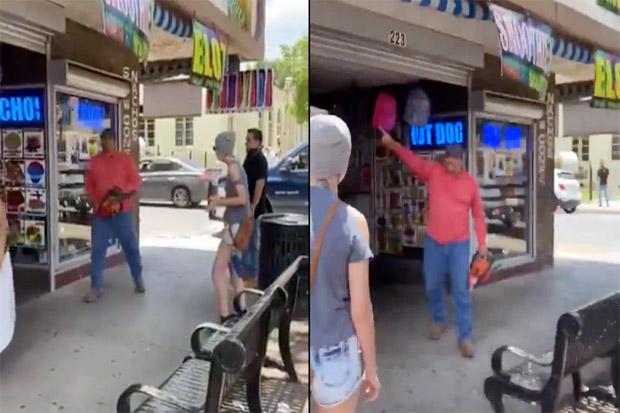 Bak Film Horor, Pria Ini Ancam Demonstran dengan Gergaji Mesin