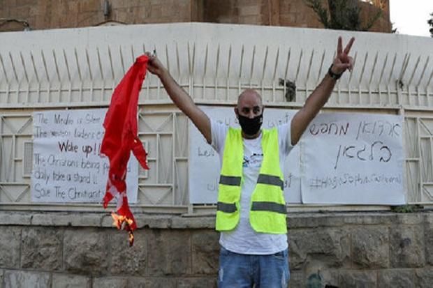 Erdogan Jadikan Hagia Sophia Masjid, Kelompok Israel Bakar Bendera Turki