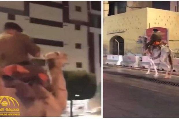 Heboh, Pria Berseragam Pasukan Saudi Naik Unta di Jalan Tol Makkah