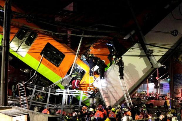 CCTV Merekam Momen Ambruknya Jembatan Rel Kereta Meksiko